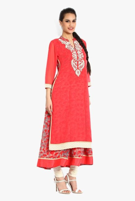 Soch Peach & Off White Printed Georgette Kurta Set