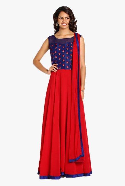 65d0210cb2 Buy Soch Royal Blue & Red Georgette Anarkali Suit for Women Online @ Tata  CLiQ