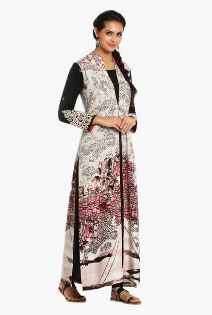 Soch Black & Off White Printed Modal Kurta Set