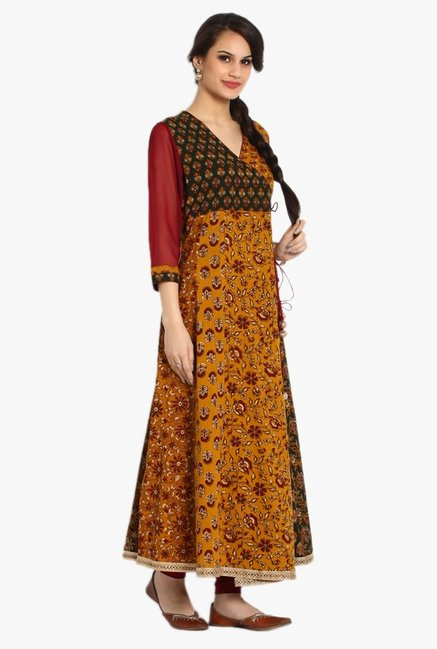 Soch Mustard & Maroon Printed Cotton Kurta Set
