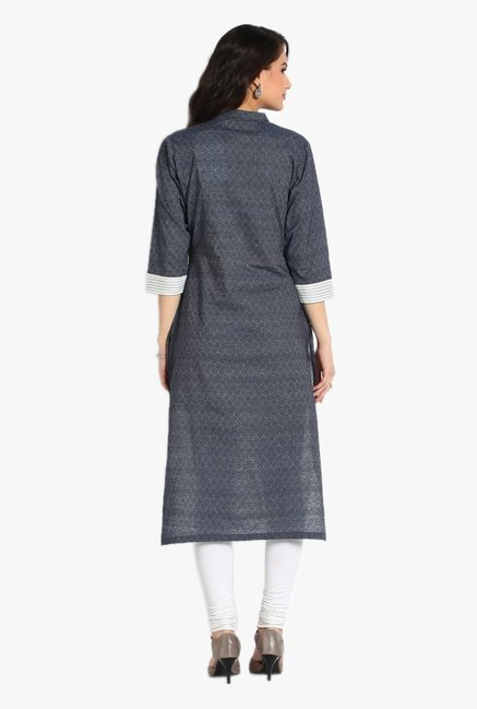 Soch Grey Embroidered Cotton Jacquard Kurta