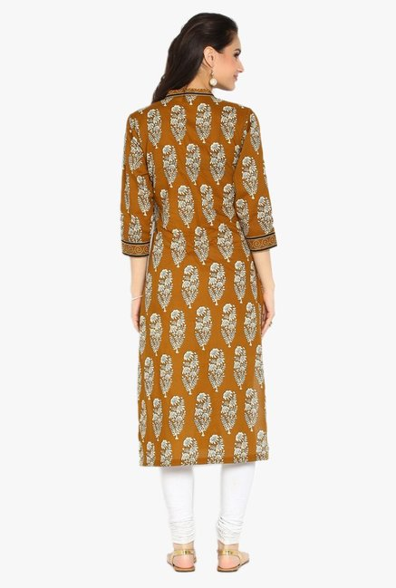 Soch Mustard Printed Cotton Kurta