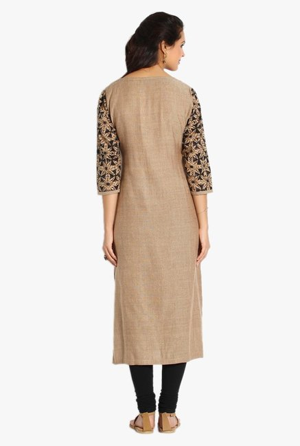 Soch Beige & Black Printed Jute Cotton Kurta