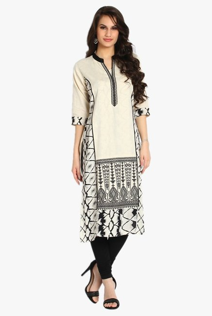 Soch Off White & Black Embroidered Khadi Kurta
