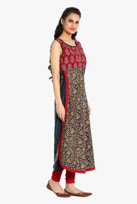 Soch Red & Brown Printed Cotton Kurta