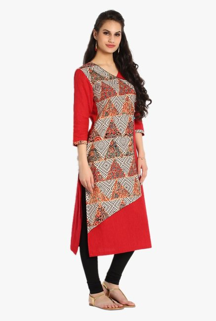 Soch Red Printed Jute Cotton Kurta