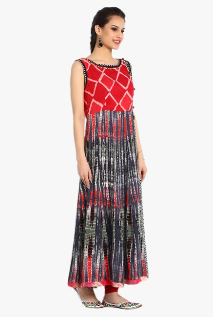 Soch Black & Red Printed Cotton Kurta Set