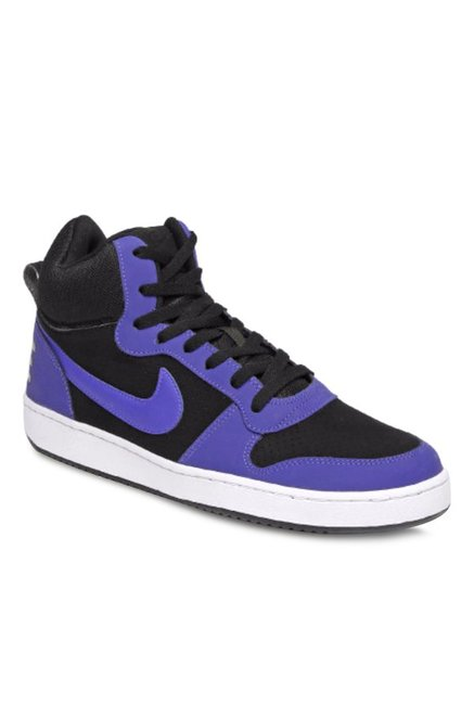 85e593156ae9 Buy Nike Court Borough Mid Black   Blue Ankle High Sneakers for Men at Best  Price   Tata CLiQ