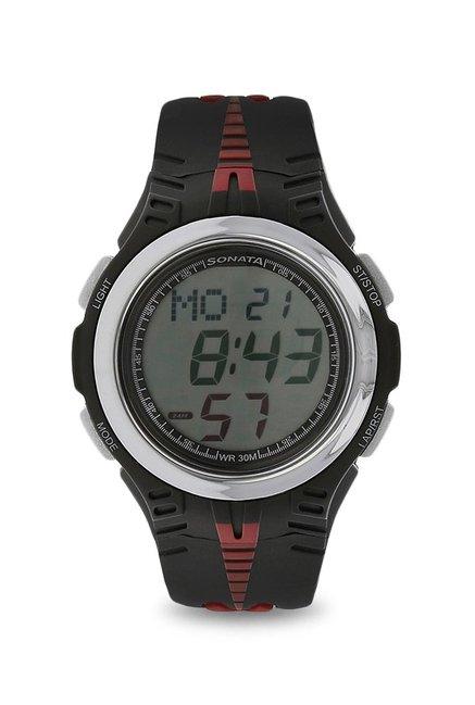 Sonata 7965PP02 Super Fibre Digital Grey Dial Men's Watch