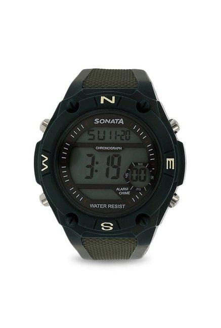 Sonata 77033PP01 Superfibre Digital Grey Dial Men's Watch