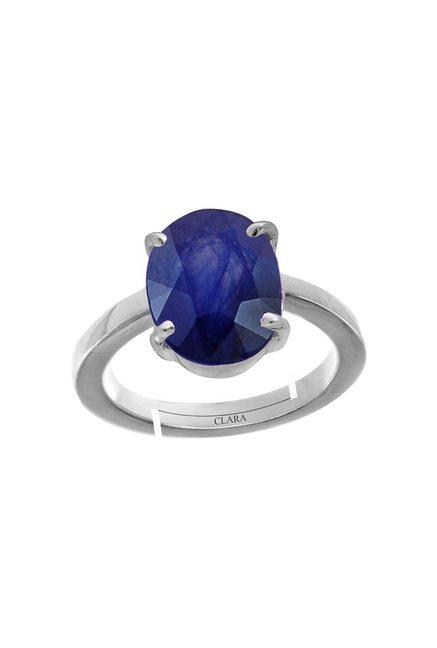 Genuine Blue Sapphire Oval Sterling 925 Sterling Silver Ring Size 6.5 Gemstone Jewelry & Watches