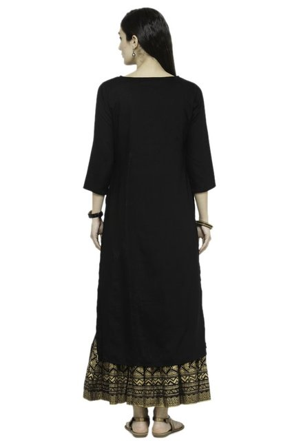 Varanga Black Printed Cotton Kurta