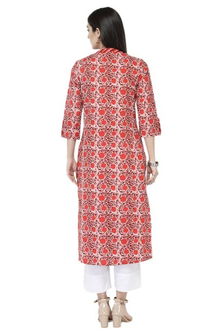Varanga Rust & White Printed Cotton Kurta With Pants