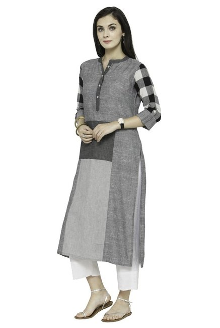 Varanga Grey Textured Cotton Kurta