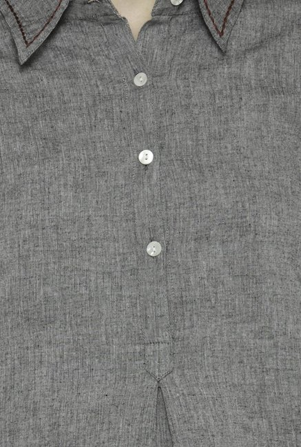 Varanga Grey & Black Textured Cotton Kurta With Pants