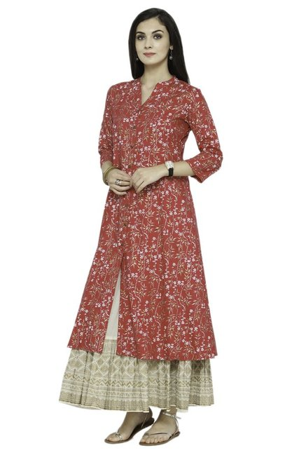 Varanga Pink & Beige Viscose Rayon Kurta With Skirt