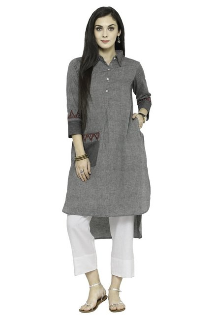 Varanga Grey & White Textured Cotton Kurta With Pants
