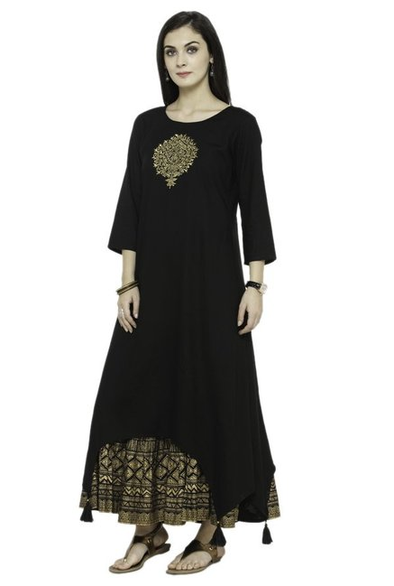 Varanga Black Embroidered Viscose Rayon Kurta With Skirt