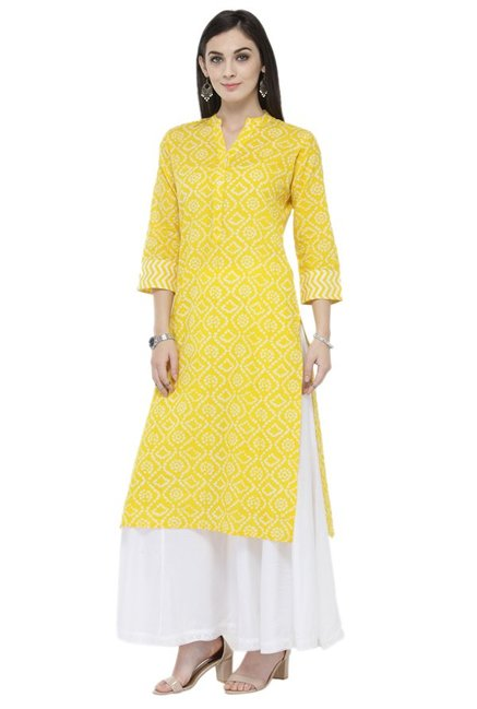 Varanga Yellow & White Cotton Kurta With Palazzo