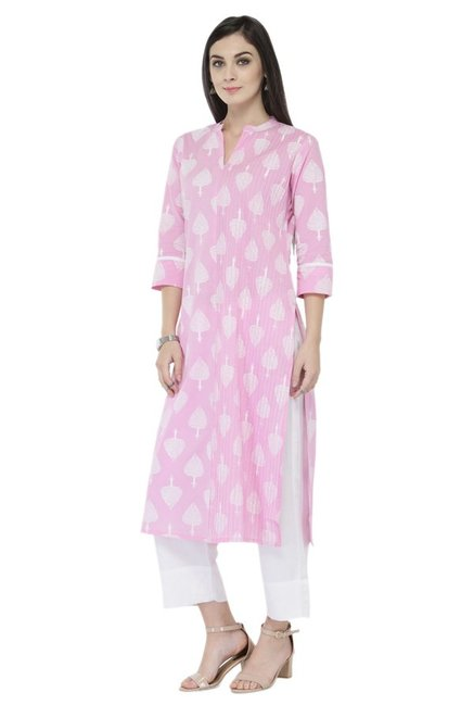 Varanga Pink & White Printed Cotton Kurta With Pants