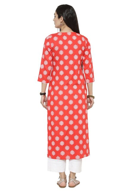Varanga Coral & White Viscose Rayon Kurta With Pants
