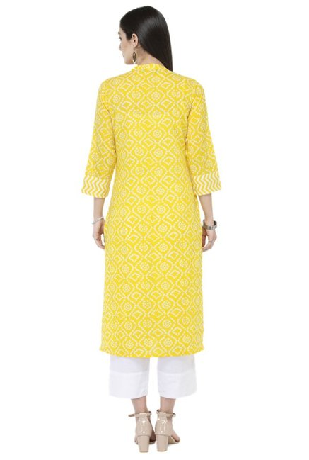 Varanga Yellow & White Bandhani Cotton Kurta With Pants