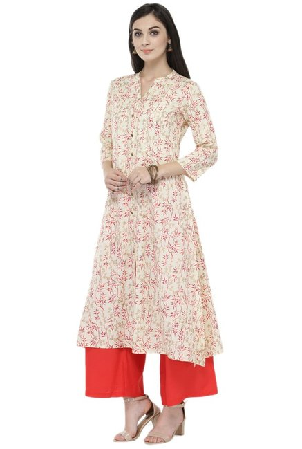 Varanga Cream & Red Viscose Rayon Kurta With Palazzo