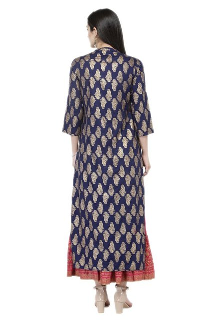 Varanga Navy & Pink Viscose Rayon Kurta With Skirt