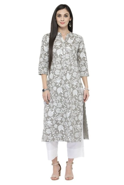 Varanga Grey & White Printed Cotton Kurta With Pants