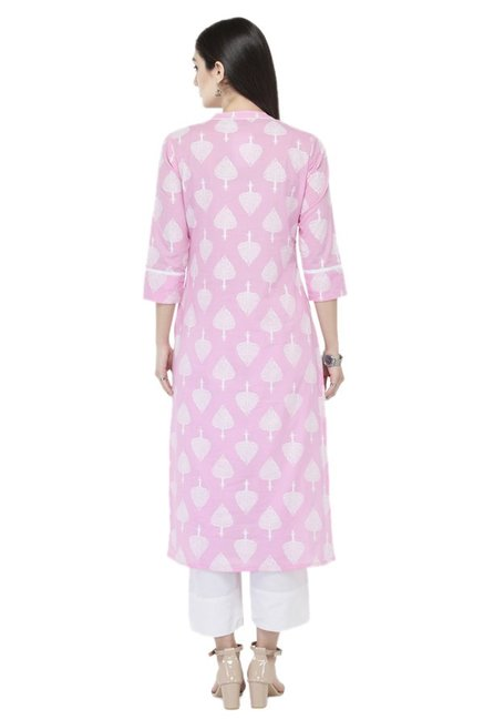 Varanga Pink Printed Cotton Kurta