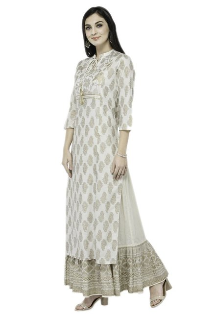 Varanga Off White Printed Viscose Rayon Kurta With Skirt
