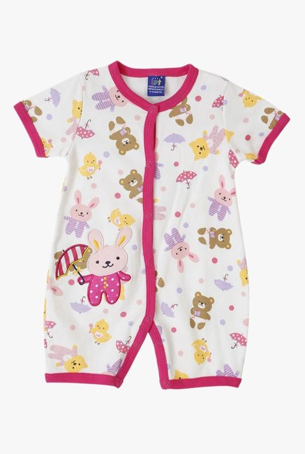 Lilliput Kids Pink & White Printed Romper With Bib