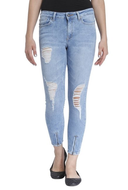 Only Blue Regular Fit Tattered Low Rise Jeans