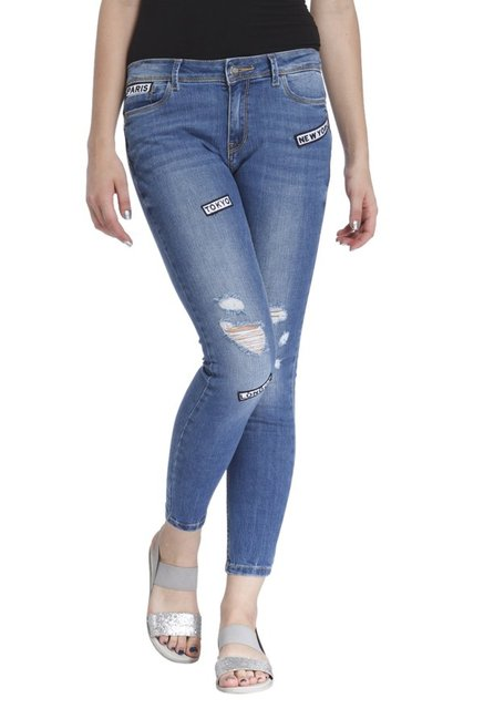 Only Blue Skinny Fit Lightly Washed Jeans