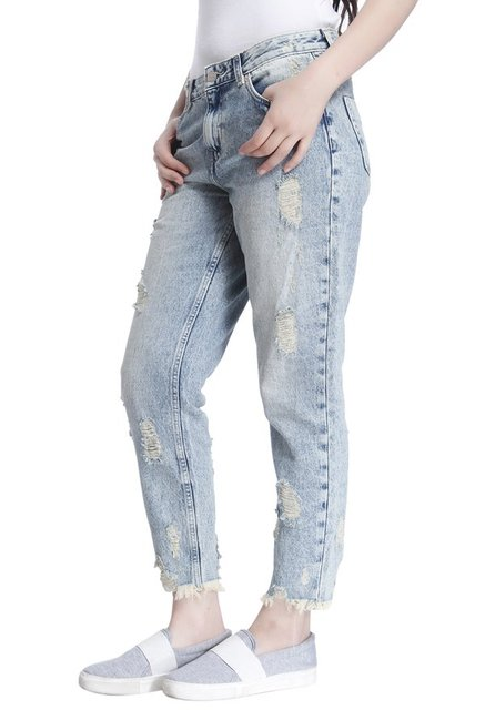 Only Blue Regular Fit Tattered Jeans