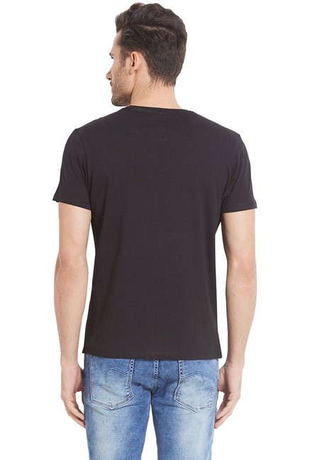 Spykar Black Round Neck Cotton T-Shirt