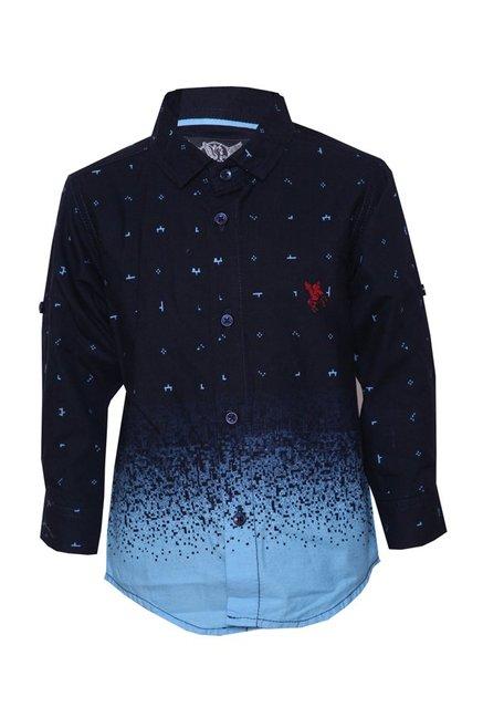 4cdbbca226 Buy Tales & Stories Navy & Blue Printed Shirt for Boys Clothing Online @  Tata CLiQ
