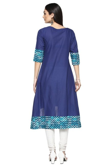 Ziyaa Navy & Teal Printed Cotton Flared Kurta