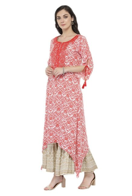 Varanga Orange & White Viscose Rayon Kurta With Skirt