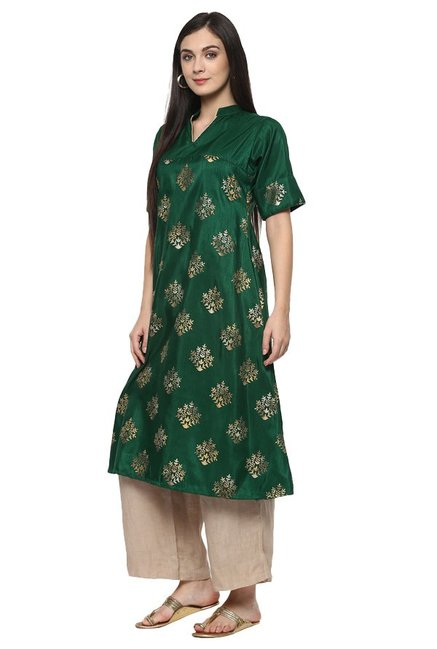 Ziyaa Green Printed Poly Silk Flared Kurta