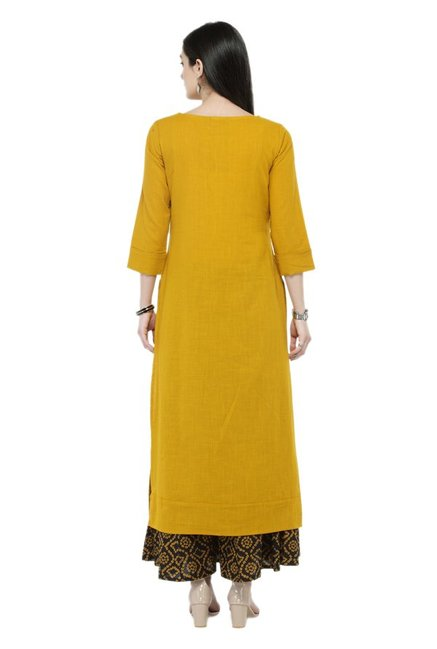 Varanga Mustard & Black Cotton Kurta With Palazzo