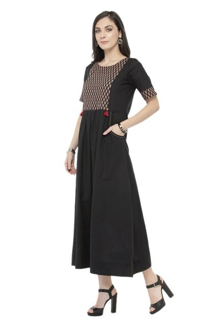 Varanga Black Printed Cotton Dress