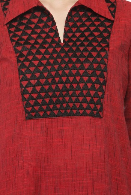Varanga Red & Navy Textured Cotton Kurta With Palazzo
