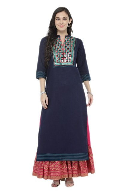 Varanga Navy & Pink Embroidered Cotton Kurta With Skirt