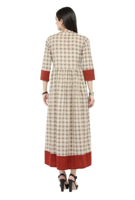 Varanga Beige Checks Cotton Dress