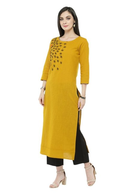 Varanga Mustard & Black Printed Cotton Kurta With Pants