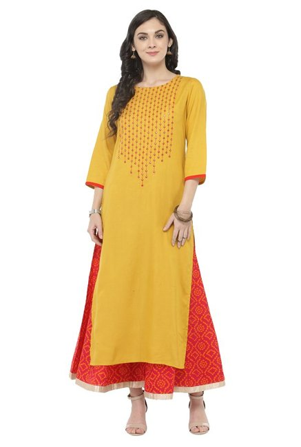 Varanga Yellow & Pink Viscose Rayon Kurta With Palazzo