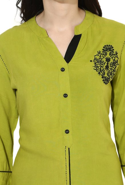 Mytri Lime Embroidered Rayon Straight Kurta