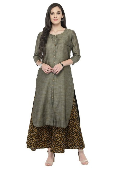 Varanga Grey & Black Textured Cotton Kurta With Palazzo