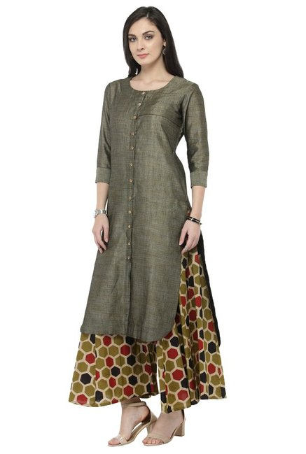 Varanga Grey & Olive Textured Cotton Kurta With Palazzo